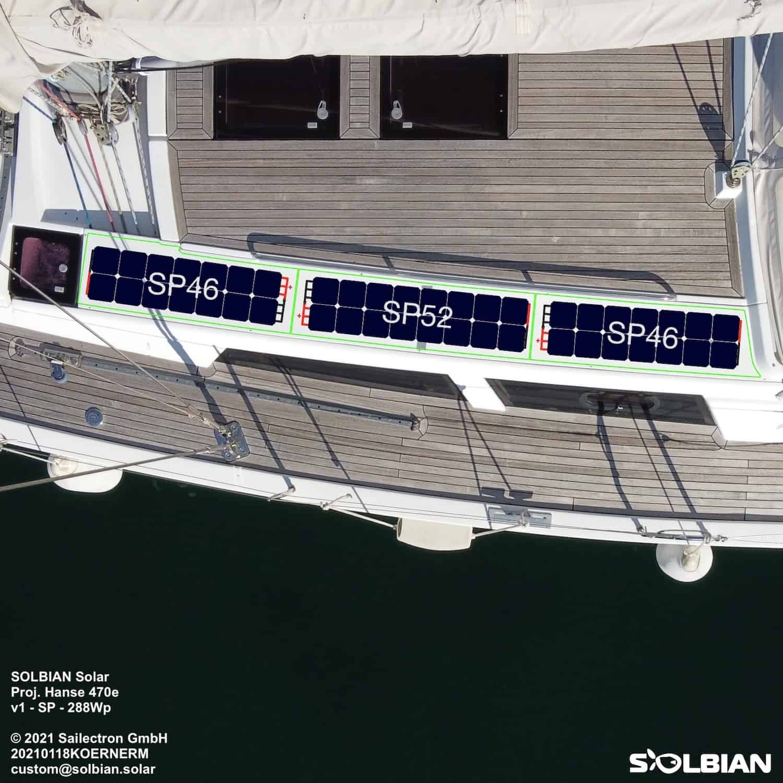 Hanse 470e Solbian Solar Solaranlage begehbar Deck Leinenabdeckung Zeichnung
