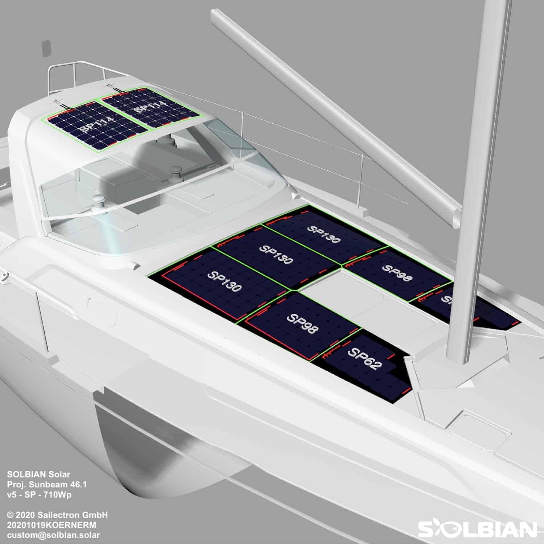 Solbian Solar Sunbeam 46.1 Segelyacht Deck Sprayhood Bimini Solaranlage begehbar Rendering