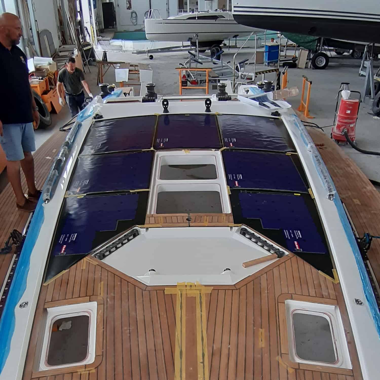 SOLBIAN Solar Sunbeam 46.1 sailing yacht boat deck-integrated walkable black solar panels bespoke custom-made templates