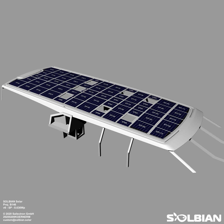Baltic 145 Superyacht Segelyacht Solbian Solar Solaranlage begehbar maßgefertigt nach Maß PATH Rendering