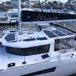 Neel 47 sailing trimaran solbian solar panels modules walkable bespoke boat photovoltaics