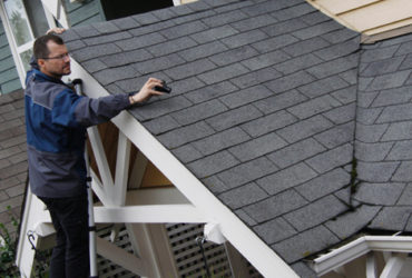 Inspecting a roof that shows some moss or water damage