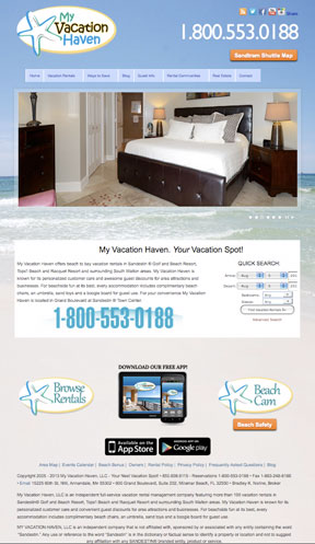 My Vacation Haven Vacation Rentals Website