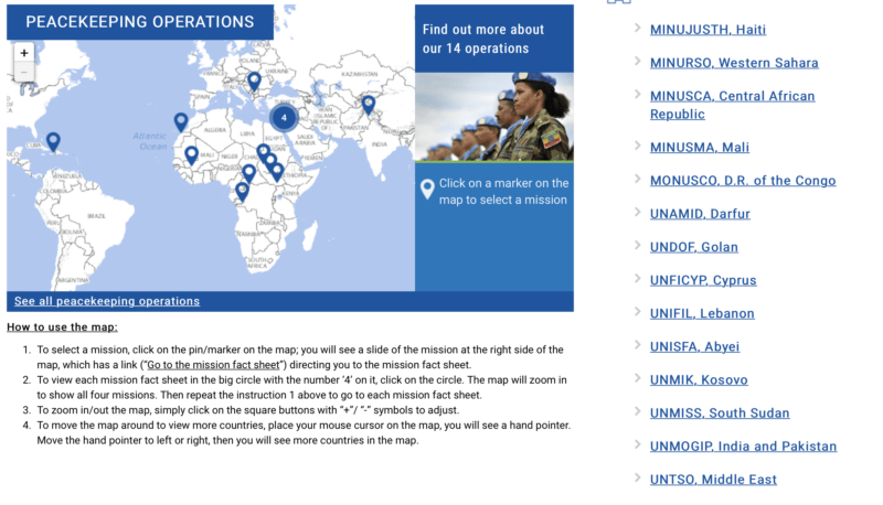 UN peacekeeping missions list