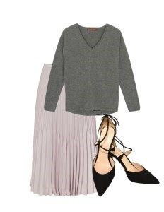 Three Outfits One Shoe, sweater and midi skirt
