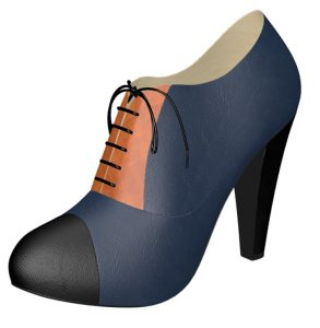 Solely Original Blue and Tan High Heel Oxford