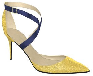Solely Original Glitter Toe Pumps with Blue Straps