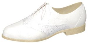 White Vegan Leather and Lace Oxford