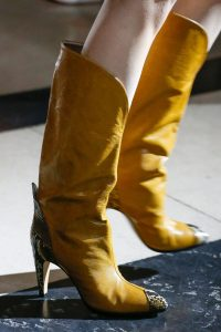 Givenchy Yellow Boots with Snakeskin Accents