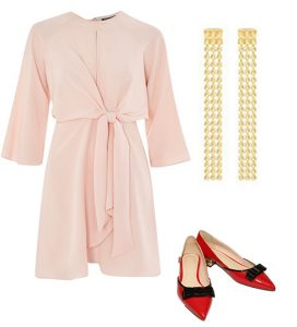 How to style pink and red with a powder pink dress