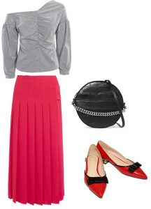 How to style pink and red with gray off the shoulder sweater