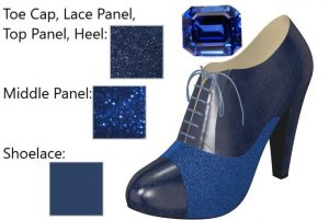 Two-Tone Metallic and Glittery Dark Blue High Heel Oxford