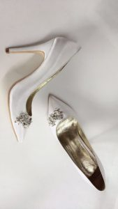 White Silk Pointy Toe Pump with Crystal Buckle