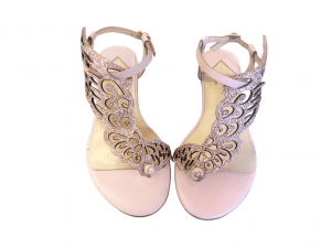 Sandals with Embellished Wing Shape