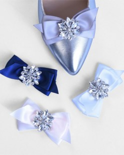 Four Satin Ribbon with Crystals Shoe Clips