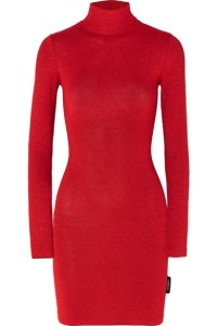 Here's a picture of a red bodycon, turtle neck dress as inspiration for thanksgiving dinner