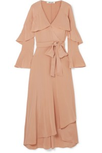 Beige wrap dress with flouncy sleeves