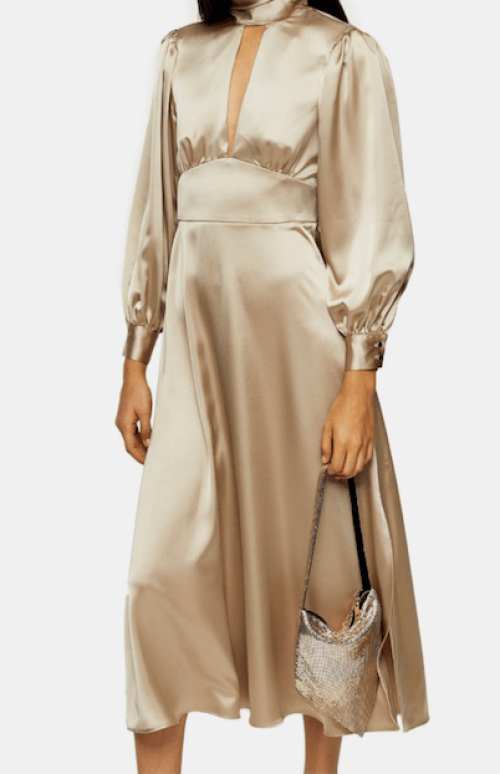 Office Outfit Inspiration showing a beige silk midi dress