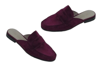 Burgundy backless Loafers, house shoes,