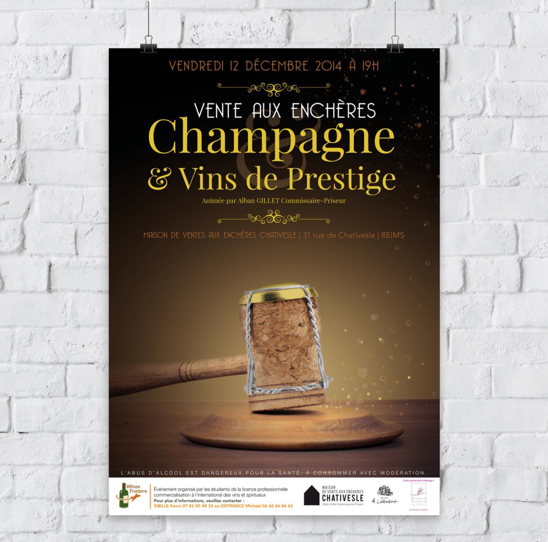 Affiche vente aux enchères Champagne