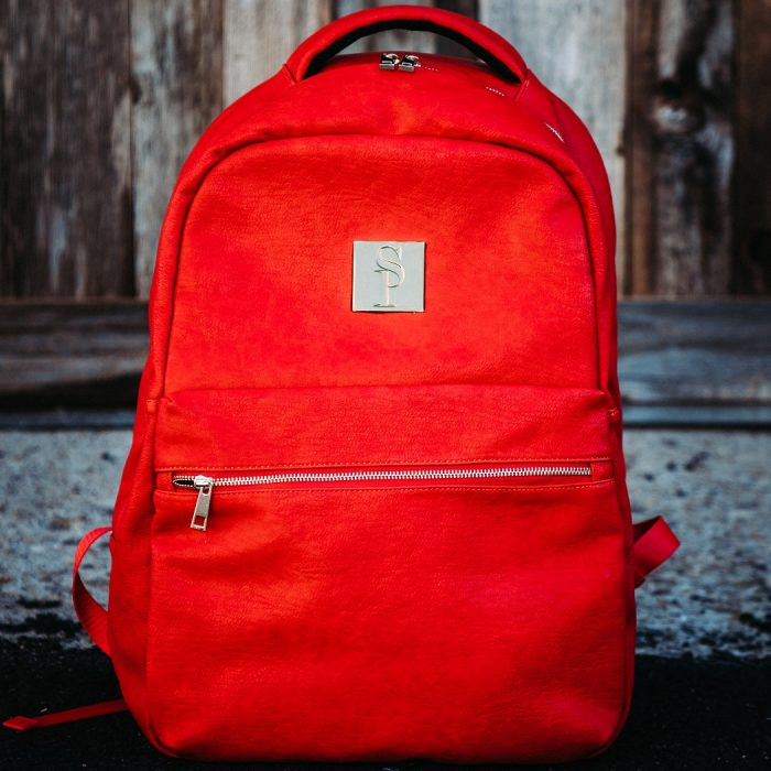 Red Leather Commuter Bag