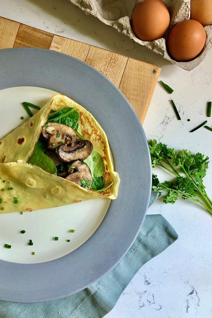 """Savory Crêpe au Fromage or """"Crepe with cheese"""" and mushroom with spinach"""
