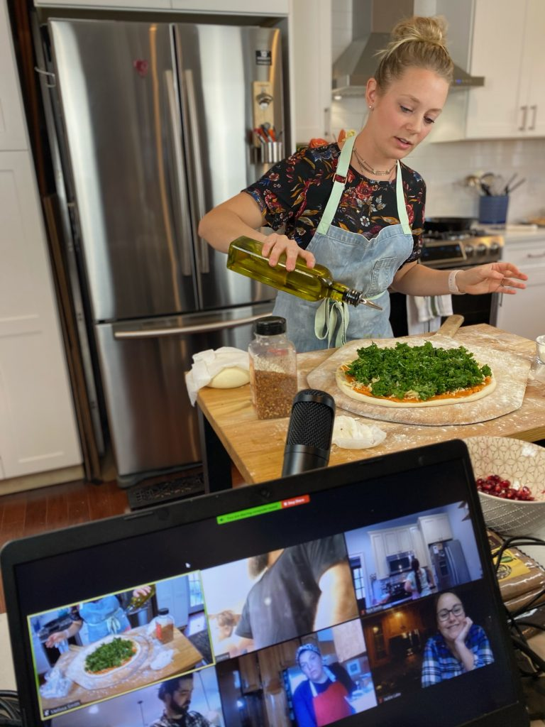 Melissa Smith in her kitchen teaching a virtual class.
