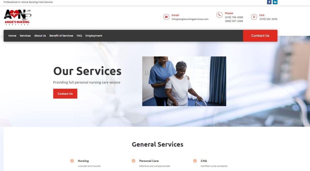 Solia Website for Angie's Nursing Services