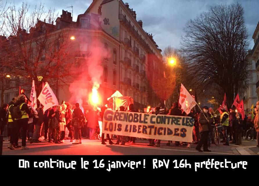 Leurs lois autoritaires ne doivent pas nous faire taire ! Manifestation le 16 janvier à Grenoble, 14h préfecture