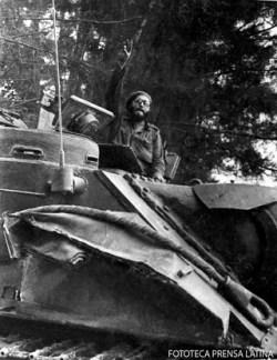 En un tanque cuando la agresion a Playa Giron por bandas mercenarias al servicio de la CIA.