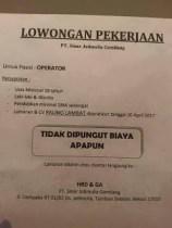 [Bekasi] Lowongan Kerja Operator di PT Sinar Jatimulia Gemilang