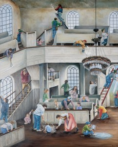 "The illustration ""Community at Work,"" by Megan Lloyd-Thompson of Carlisle, is on display at Murray Library on the Messiah College campus."