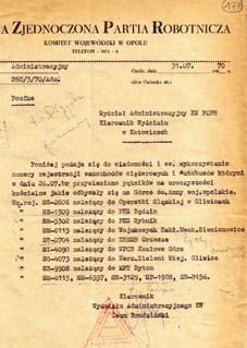 Pismo do KW PZPR w Opolu z numerami autobusów, które zostały odnotowane przez SB w czasie pielgrzymki na Górę św. Anny.