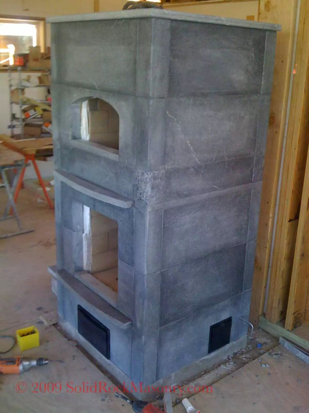 Contraflow Masonry Heater With Bakeoven Solid Rock Masonry