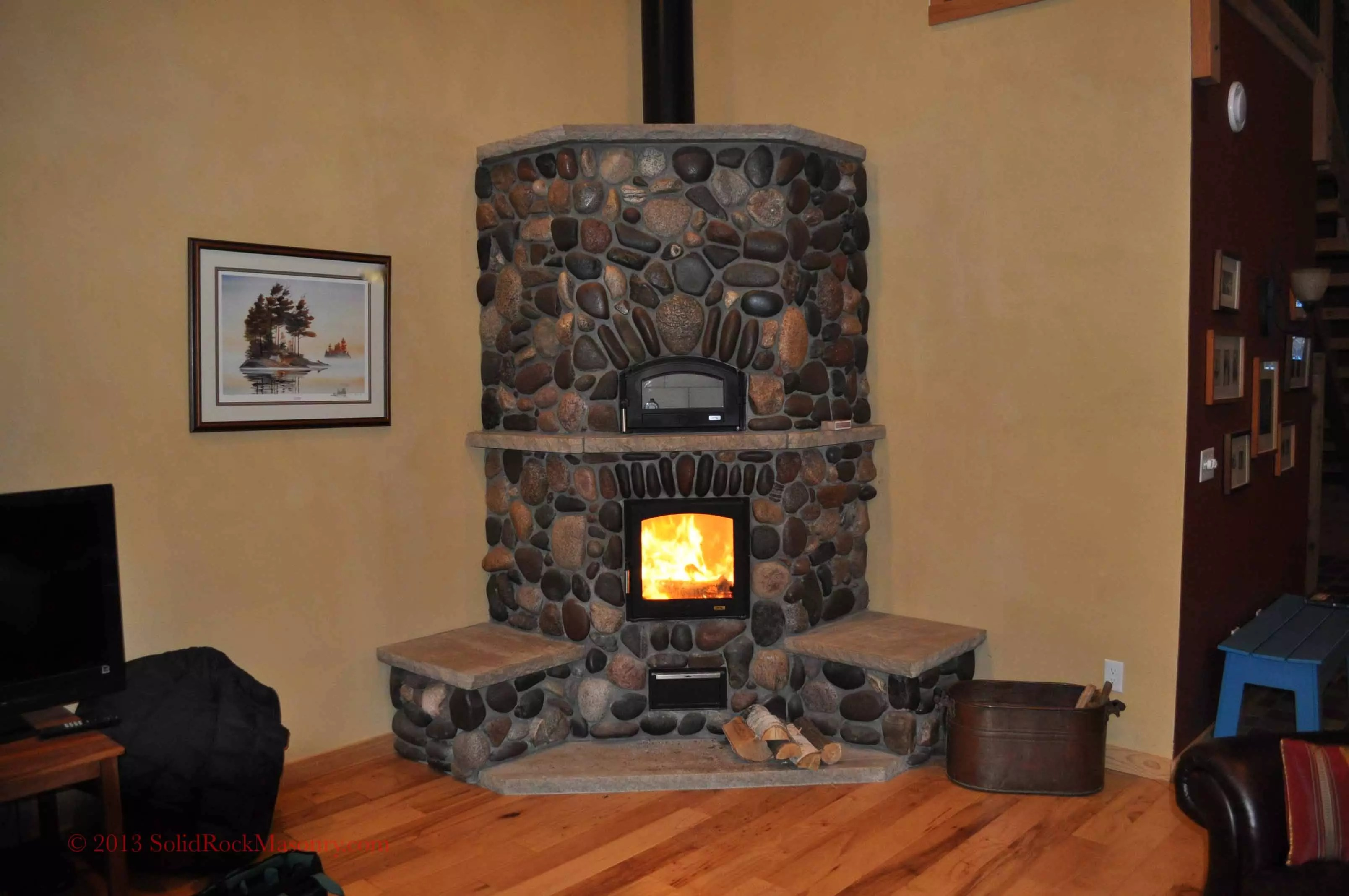 heimbaugh sr 18 corner heater with white oven solid rock masonry