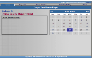 dept admin home page