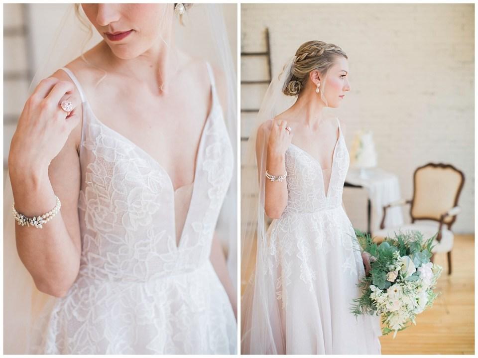 Details of a bride dress.