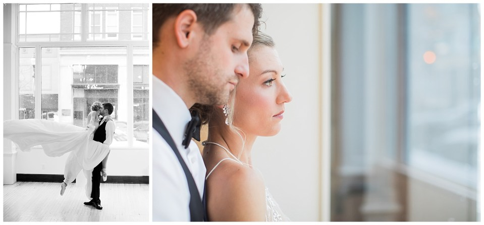 Bride and groom dancing and looking serious through a window in South Dakota.