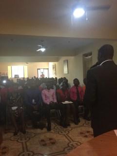 The Solkomyo Coordinator, Antonio Vixama, speaking to the graduates during the ceremony.