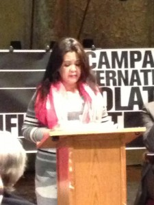 Jessica Casanova speaks in support of the HALT Solitary Confinement Act at a press conference in 2014.