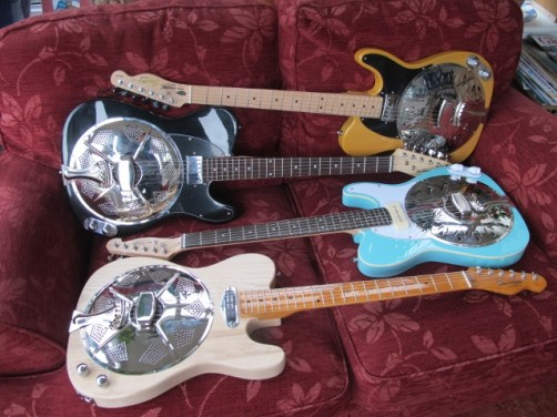Latest Stock here at Sollophonic Guitars, the maker of solid bodied resonator guitars here in the UK. As you can see, a real variety of styles, necks, pickups and colours can be combined.