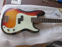 A nice Vintage P-Bass in for a bit of work recently. New CTS controls and Switchcraft jack socket, replacement pickups springs, restring with D'Addario strings and a set up. Sweet basses these Vintage ones.