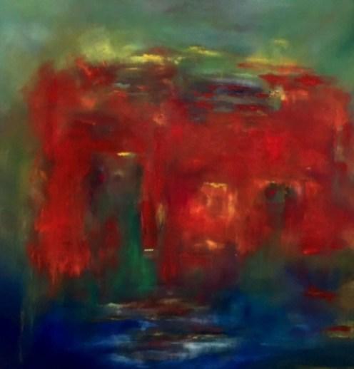 """Rotes Haus am See"", 2015, 80 cm x 80 cm"