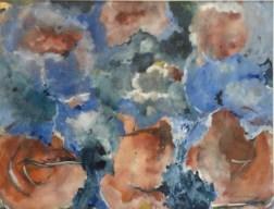 Blau und Rot, 1989, Gouache, 46 cm x 33 cm,
