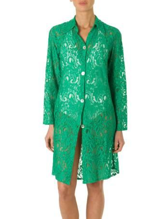 Camicia Pizzo Viscosa Verde-0