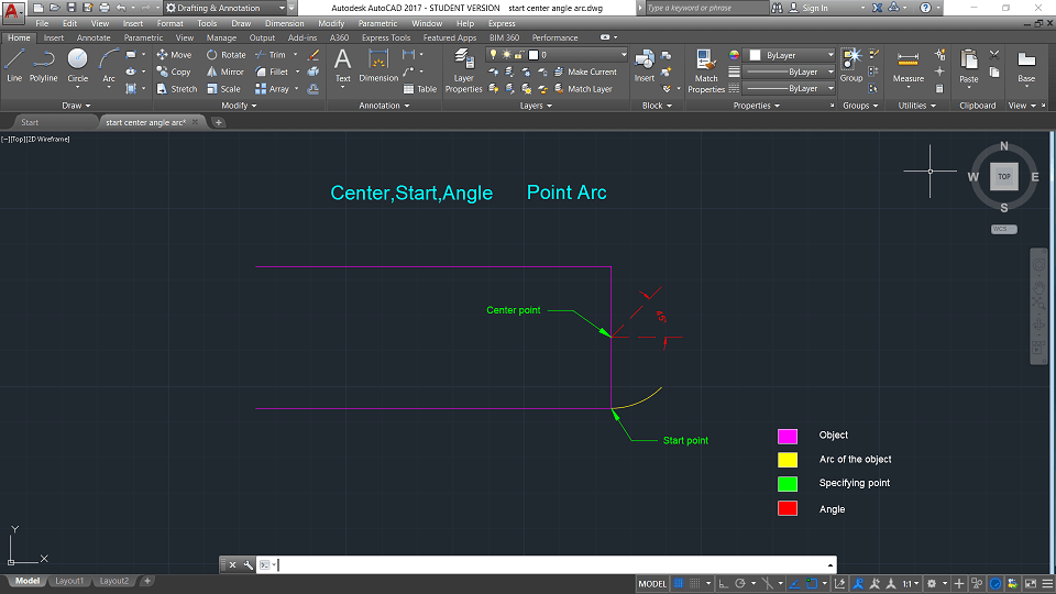 autocad center start angle arc