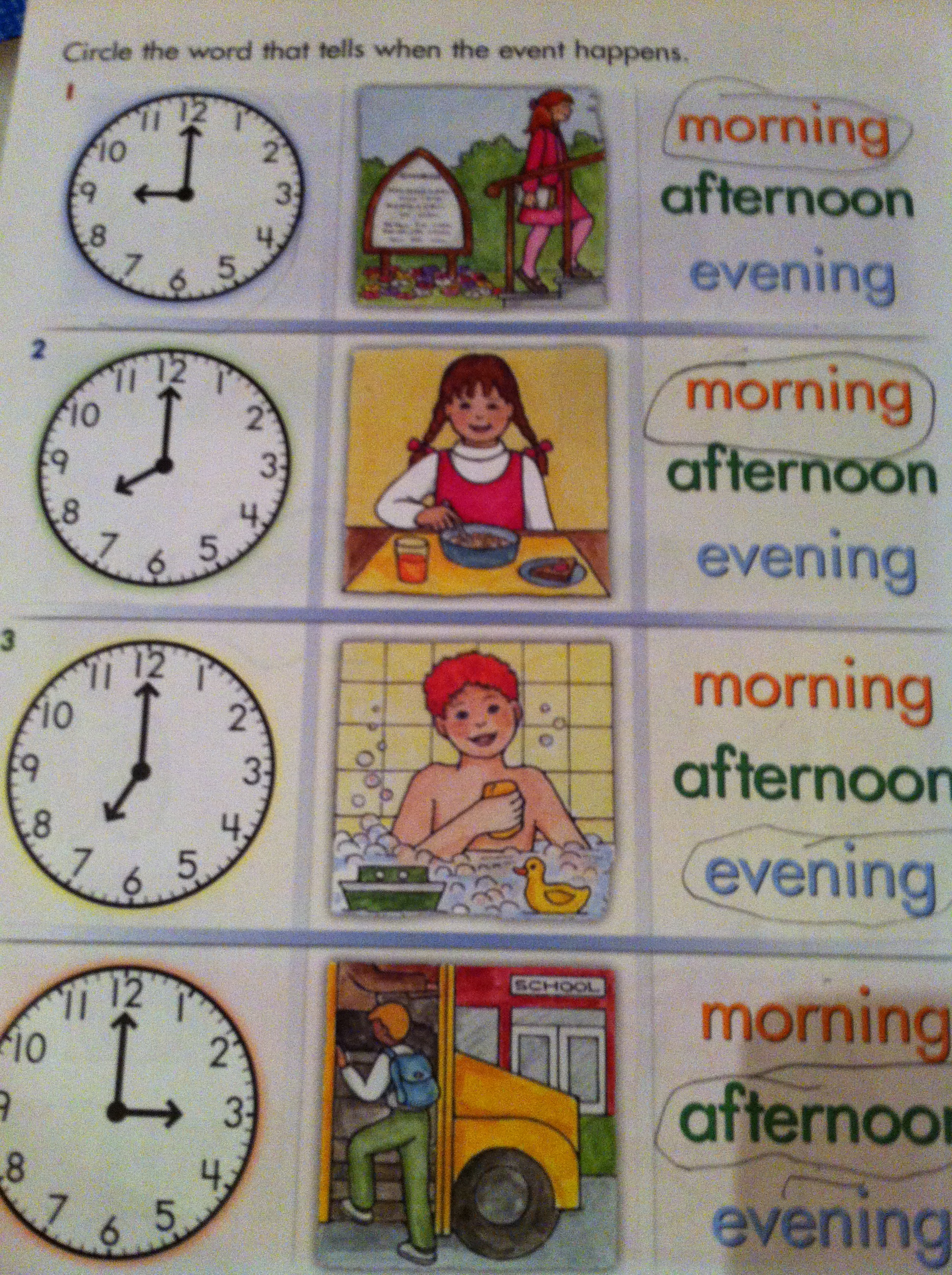 Morning Afternoon Evening And Night Word Labels Images
