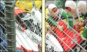 Haikkinen es sacado del monoplaza por el equipo médico después de un impacto brutal en Adelaida, en 1995. El finlandés sufrió fractura decráneo.