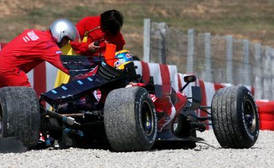 El monoplaza de Bourdais después del accidente