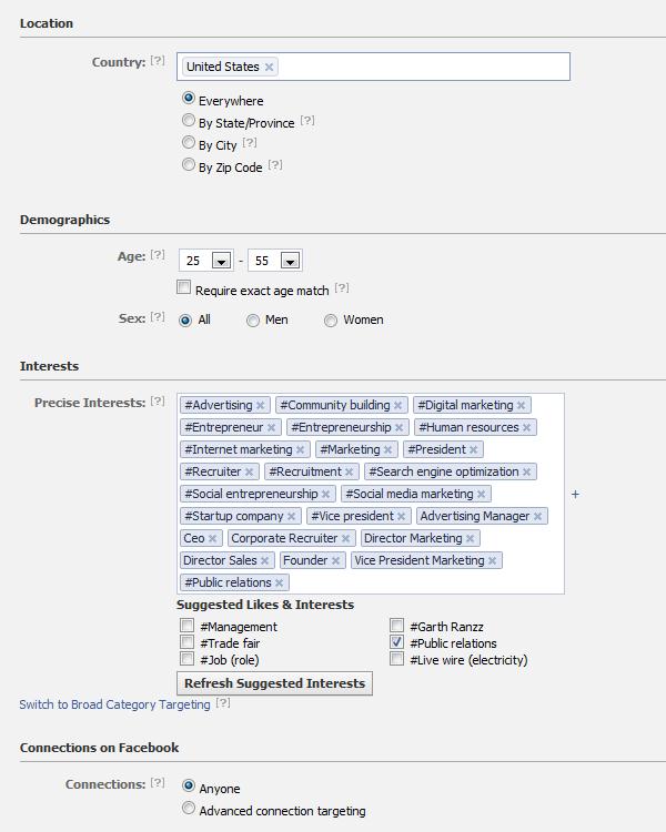 Facebook Job Search Targeting Details